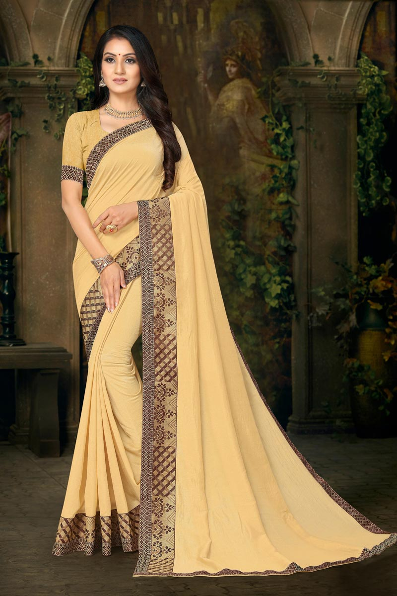 Daily Wear Beige Color Fancy Lace Work Saree In Art Silk Fabric