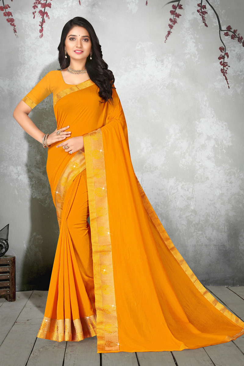 Mustard Color Art Silk Fabric Party Wear Designer Saree