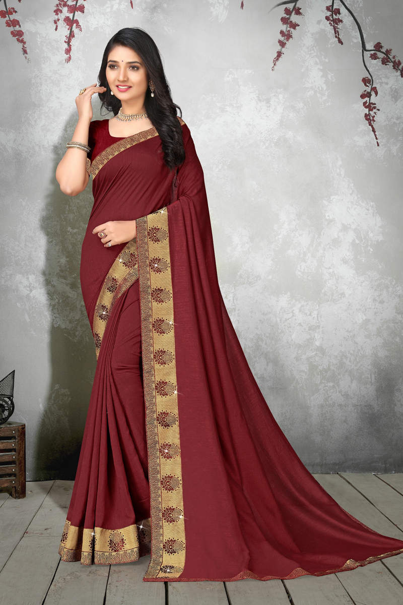 Designer Art Silk Fabric Function Wear Saree In Brown Color