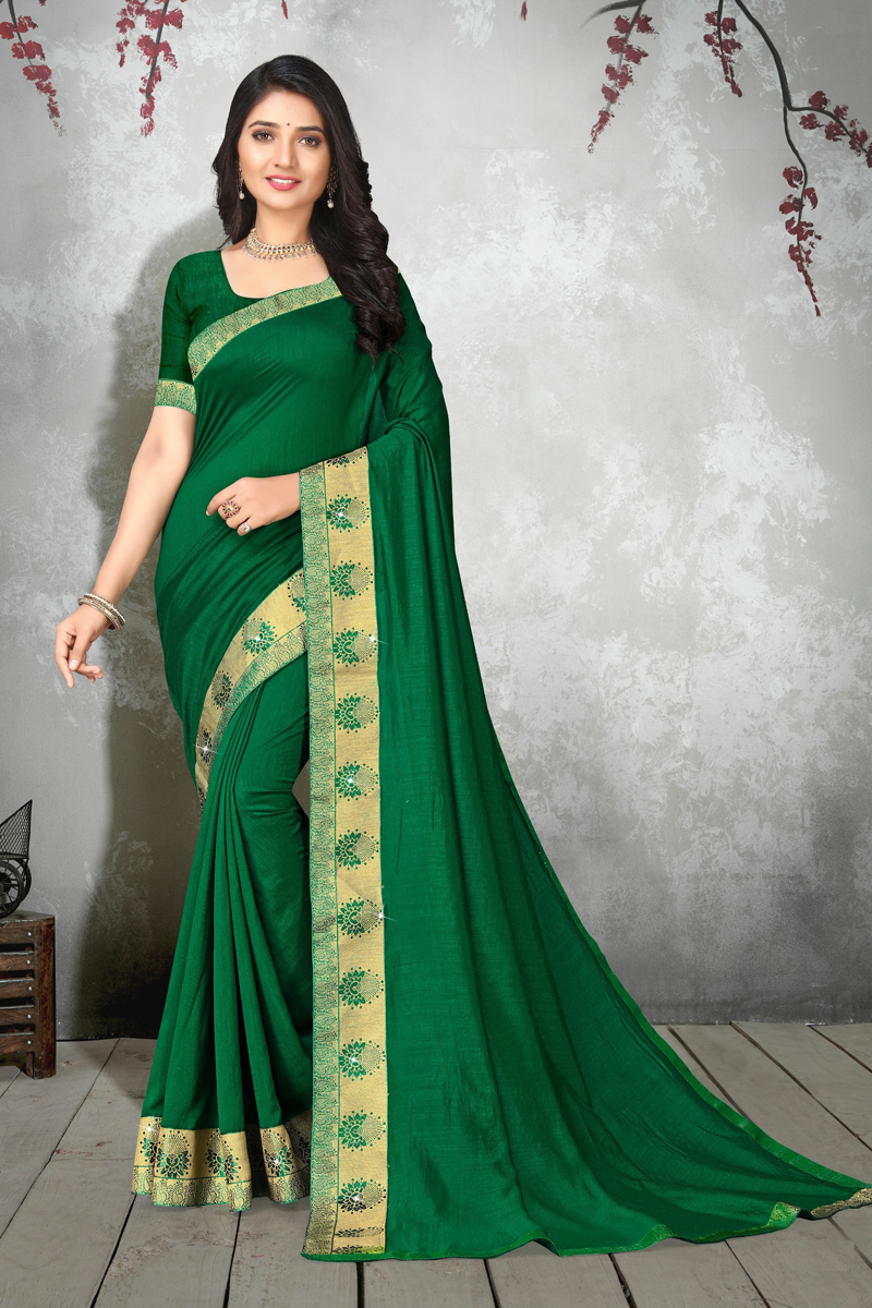Art Silk Fabric Designer Party Wear Saree In Dark Green Color
