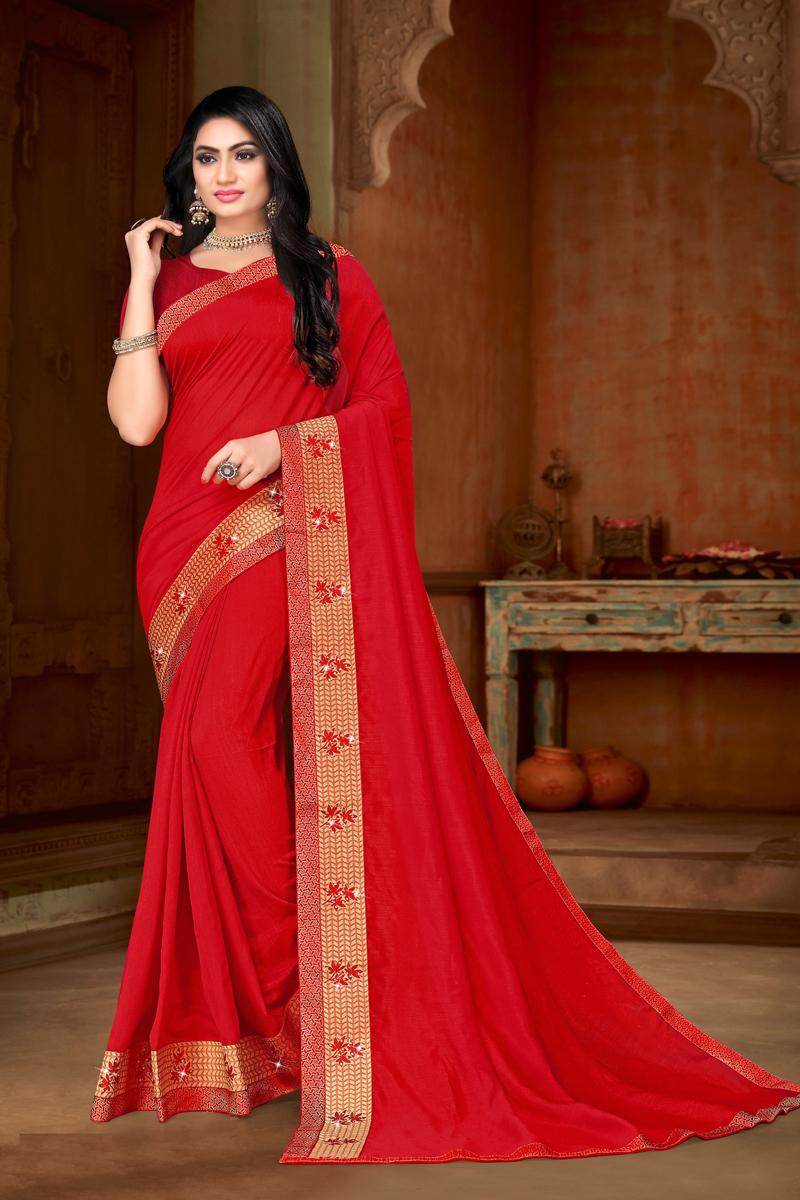 Red Color Art Silk Fabric Occasion Wear Saree