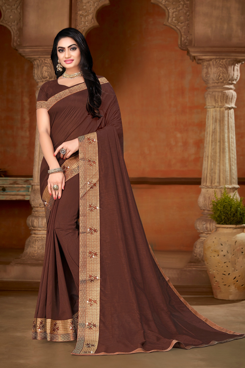 Designer Brown Color Art Silk Fabric Party Wear Saree