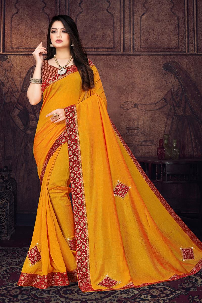 Mustard Color Traditional Border Work In Art Silk Fabric Saree