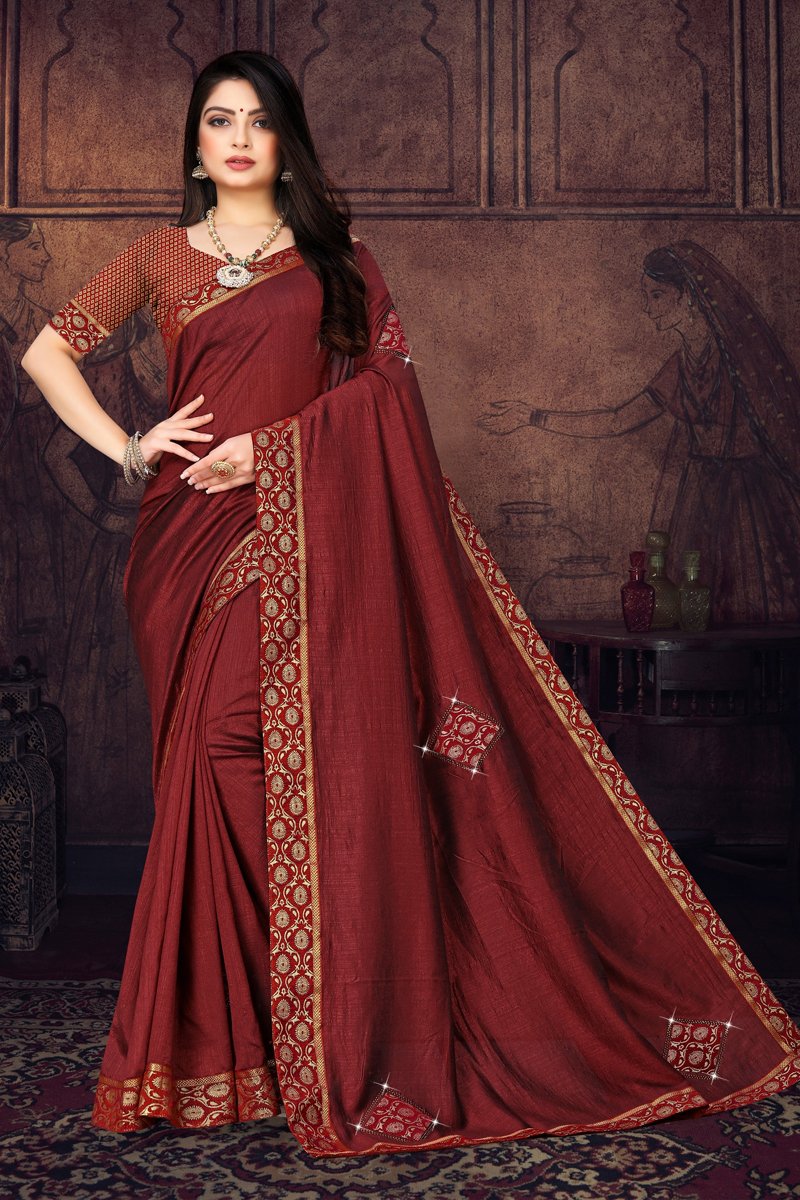 Maroon Color Art Silk Fabric Function Wear Border Work Saree