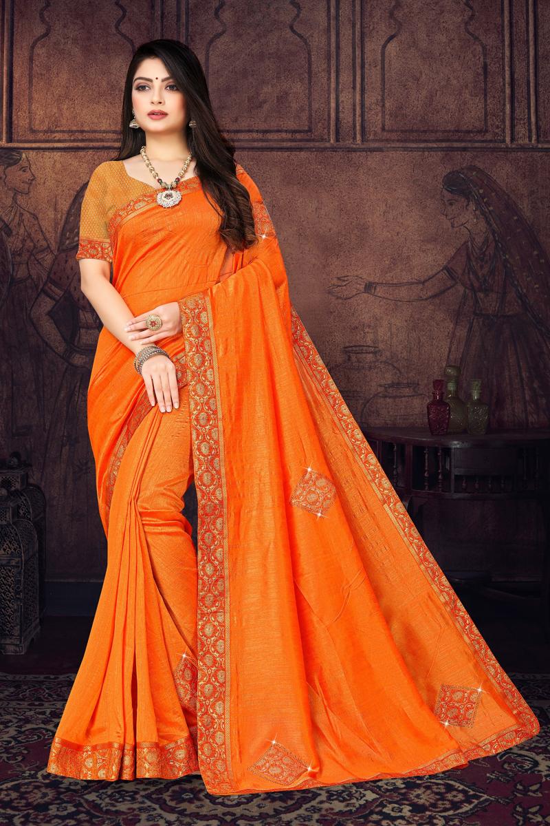 Art Silk Fabric Orange Color Designer Border Work Saree