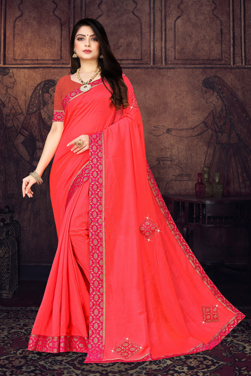 Art Silk Fabric Designer Border Work In Pink Color Saree