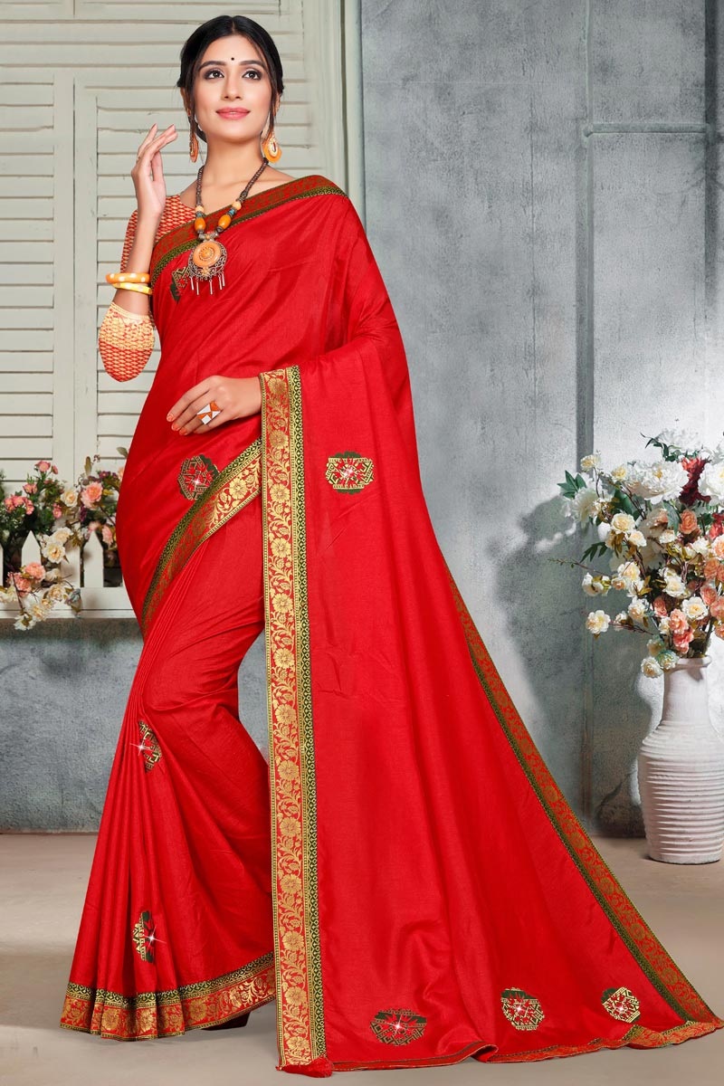 Art Silk Fabric Elegant Puja Wear Red Color Lace Work Saree