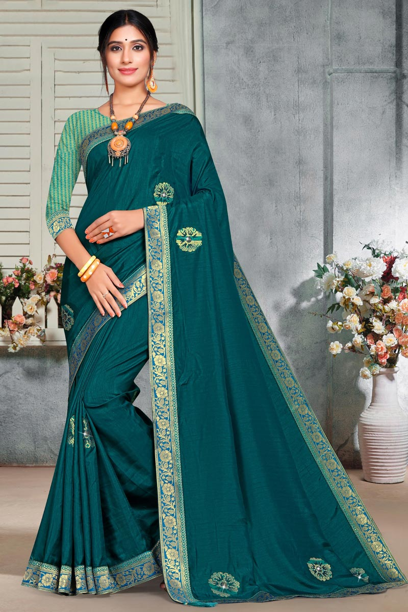 Teal Color Puja Wear Art Silk Fabric Elegant Lace Work Saree