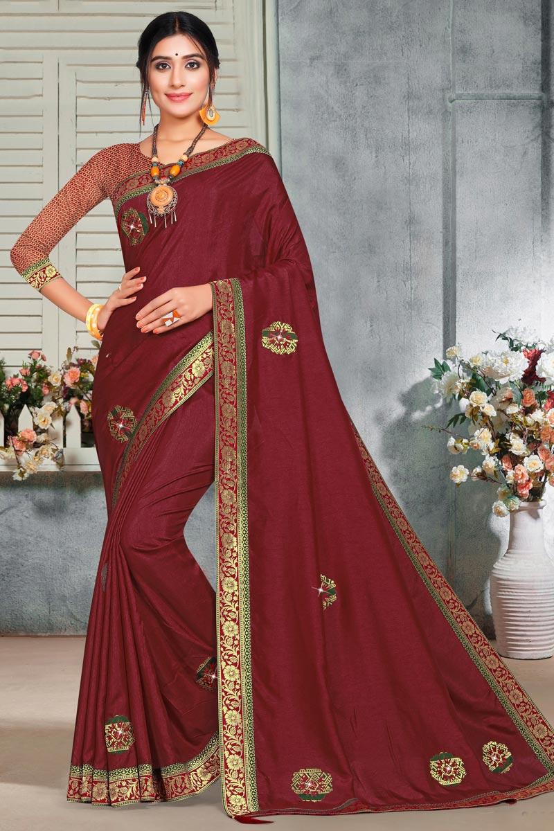 Puja Wear Elegant Maroon Color Lace Work Art Silk Fabric Saree