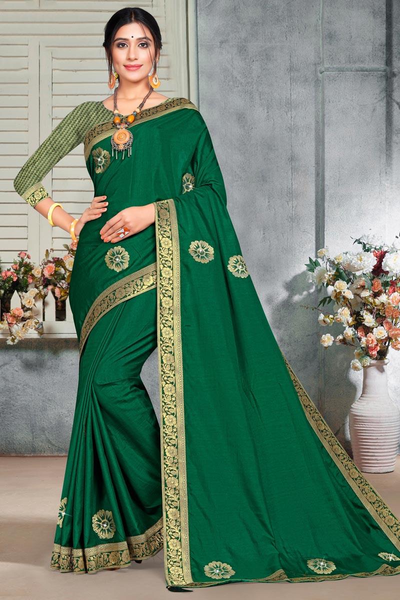 Green Color Elegant Puja Wear Art Silk Fabric Lace Work Saree