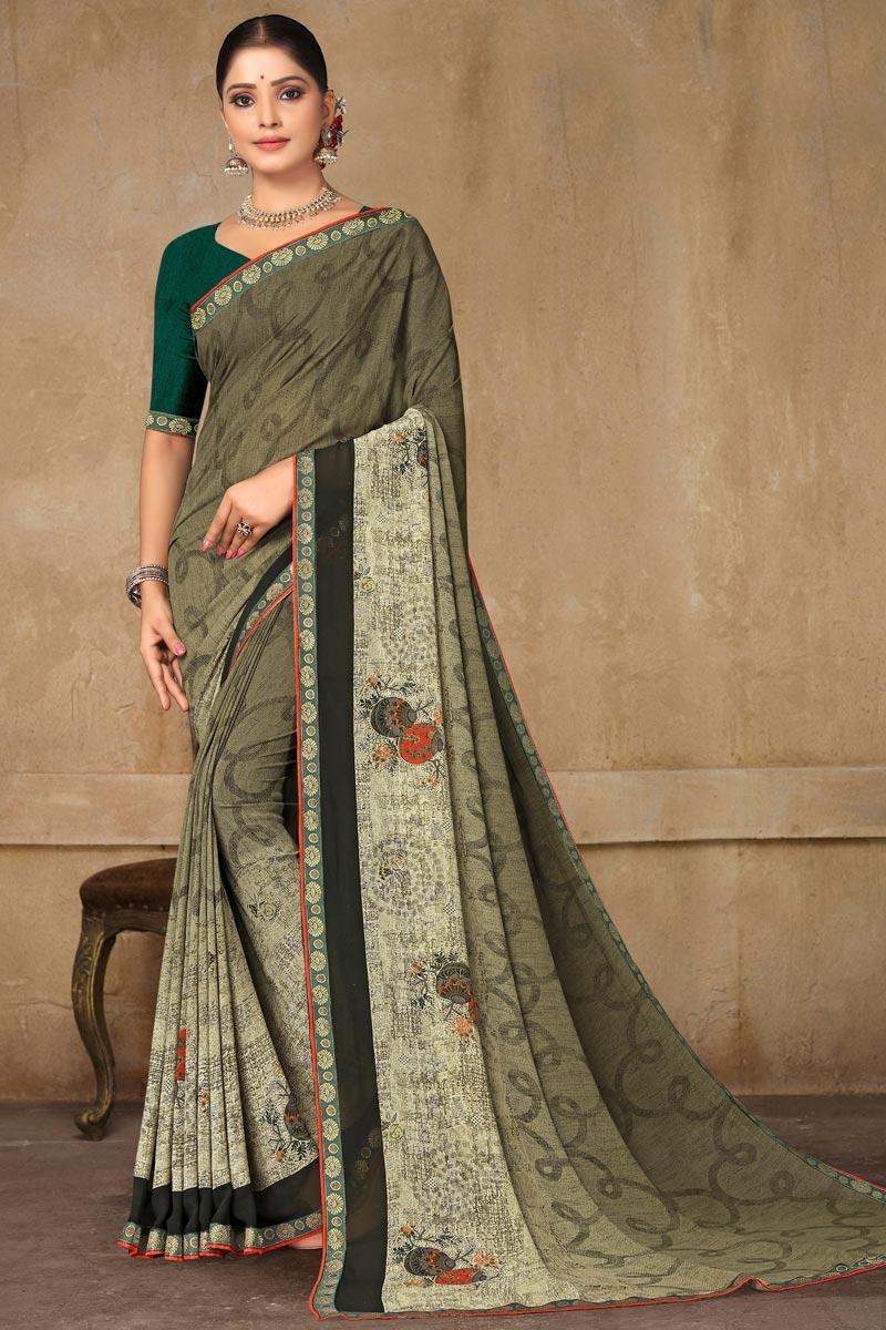 Dark Beige Color Daily Wear Georgette Fabric Printed Saree