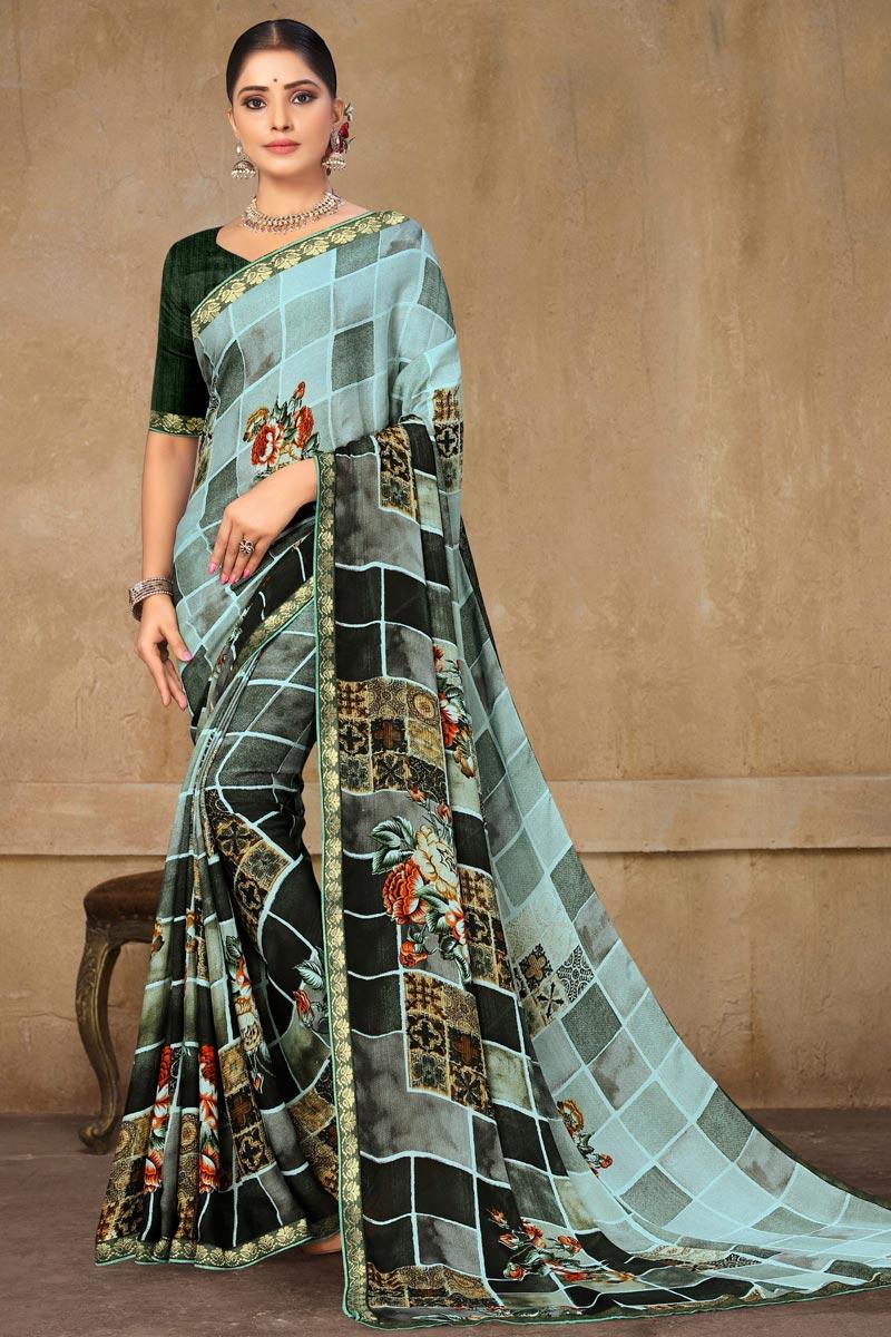 Georgette Fabric Casual Wear Multi Color Printed Saree