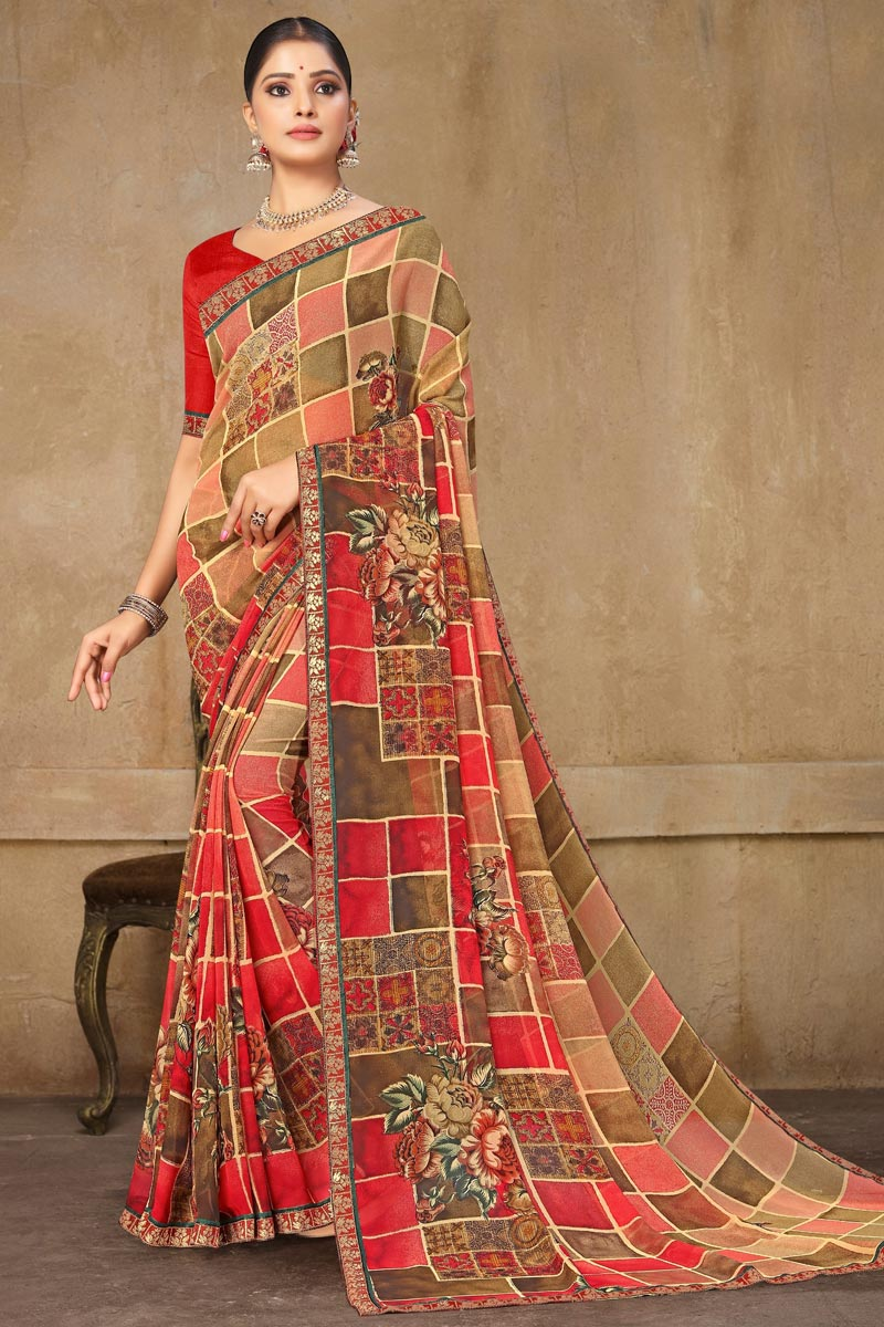 Office Wear Georgette Fabric Printed Saree In Multi Color