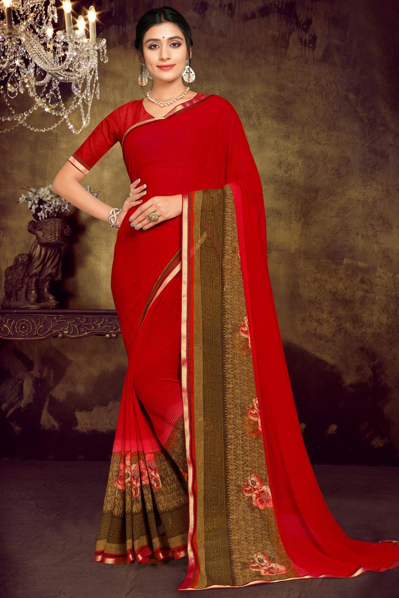 Georgette Fabric Daily Wear Red Color Printed Saree
