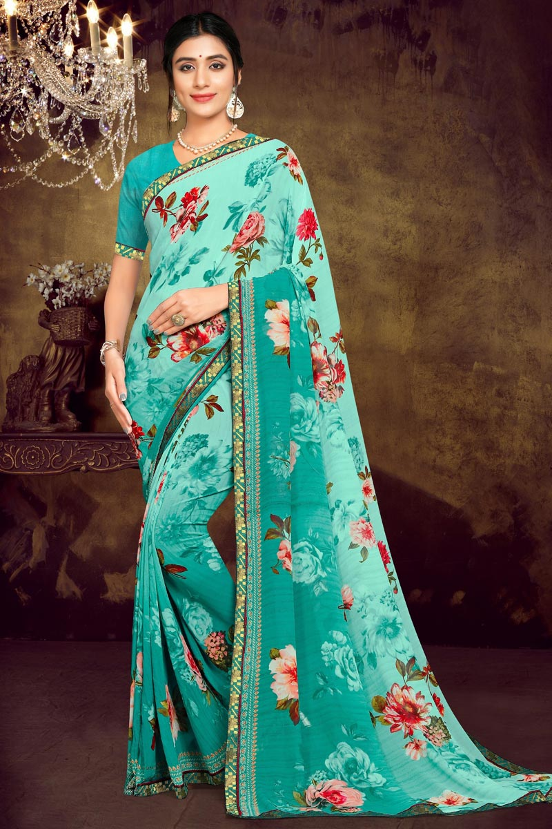 Cyan Color Daily Wear Georgette Fabric Printed Saree