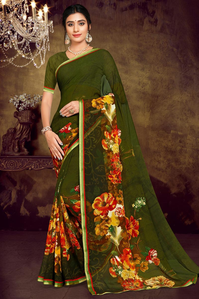 Georgette Fabric Casual Wear Green Color Printed Saree