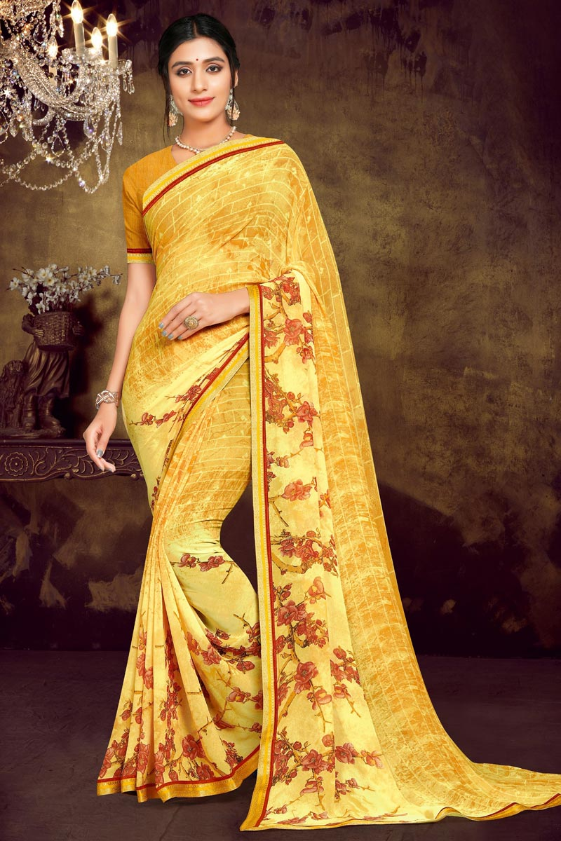 Casual Wear Yellow Color Georgette Fabric Printed Saree