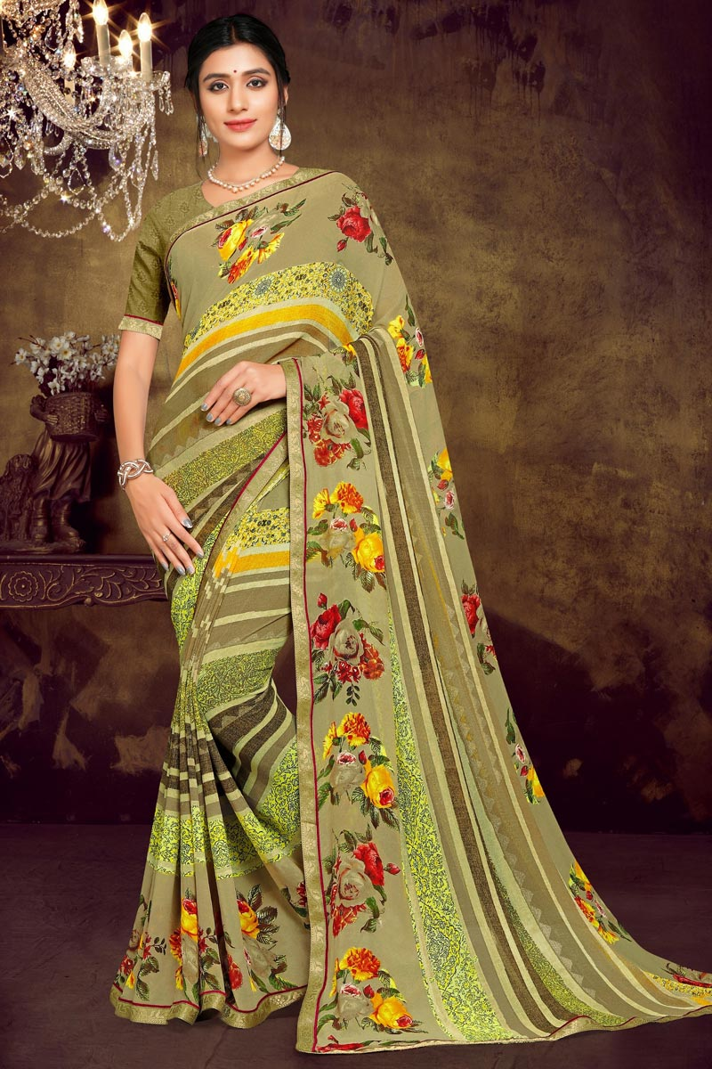 Sea Green Color Office Wear Georgette Fabric Printed Saree