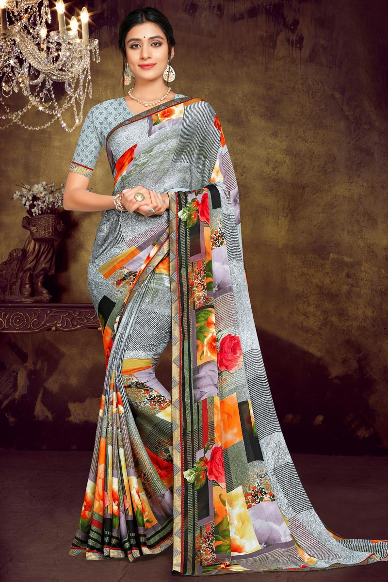 Georgette Fabric Regular Wear Grey Color Printed Saree