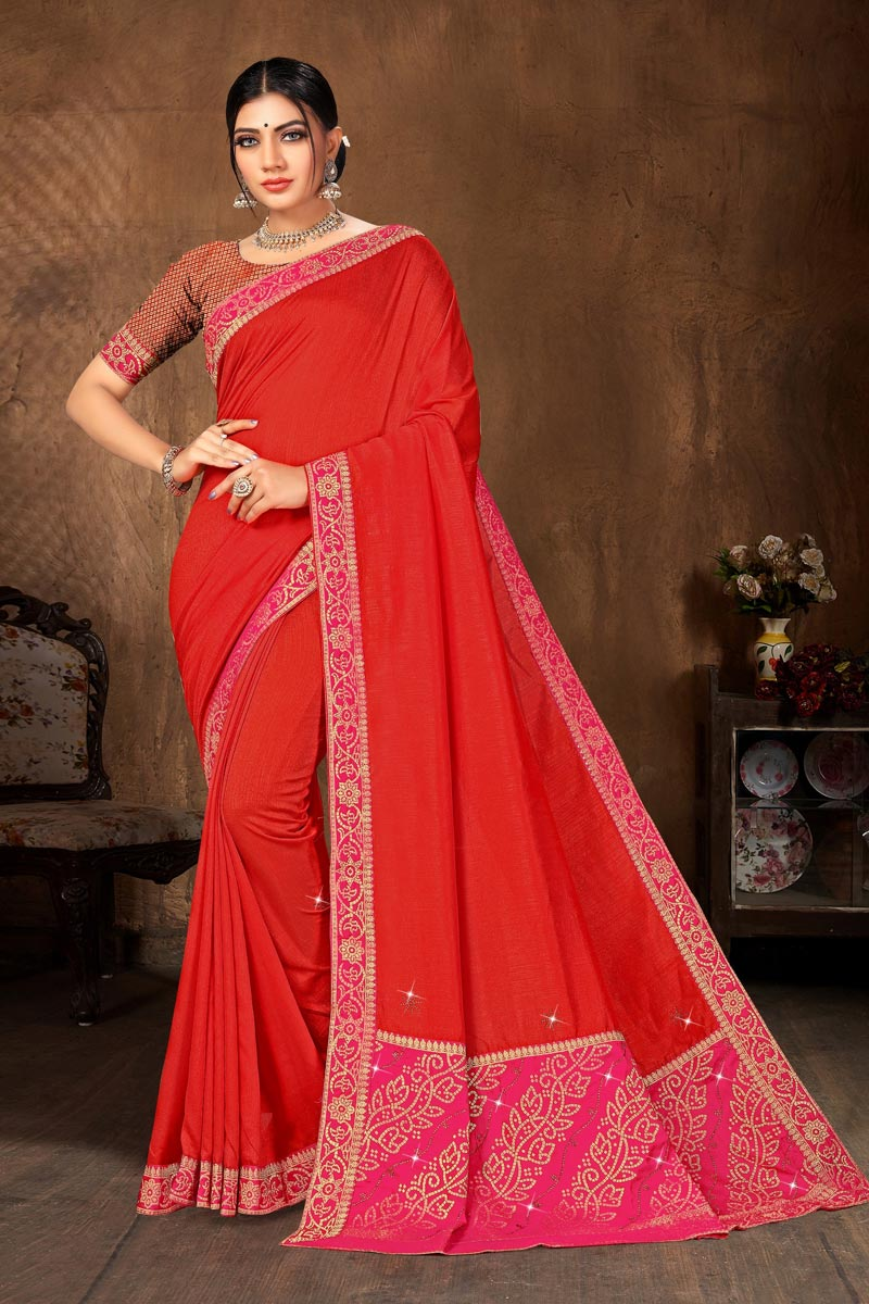 Art Silk Fabric Casual Wear Classic Red Color Lace Work Saree