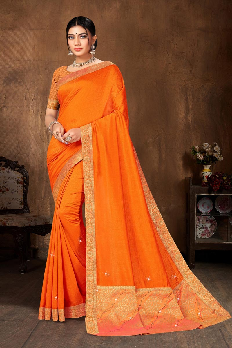 Casual Wear Mustard Color Classic Art Silk Fabric Lace Work Saree