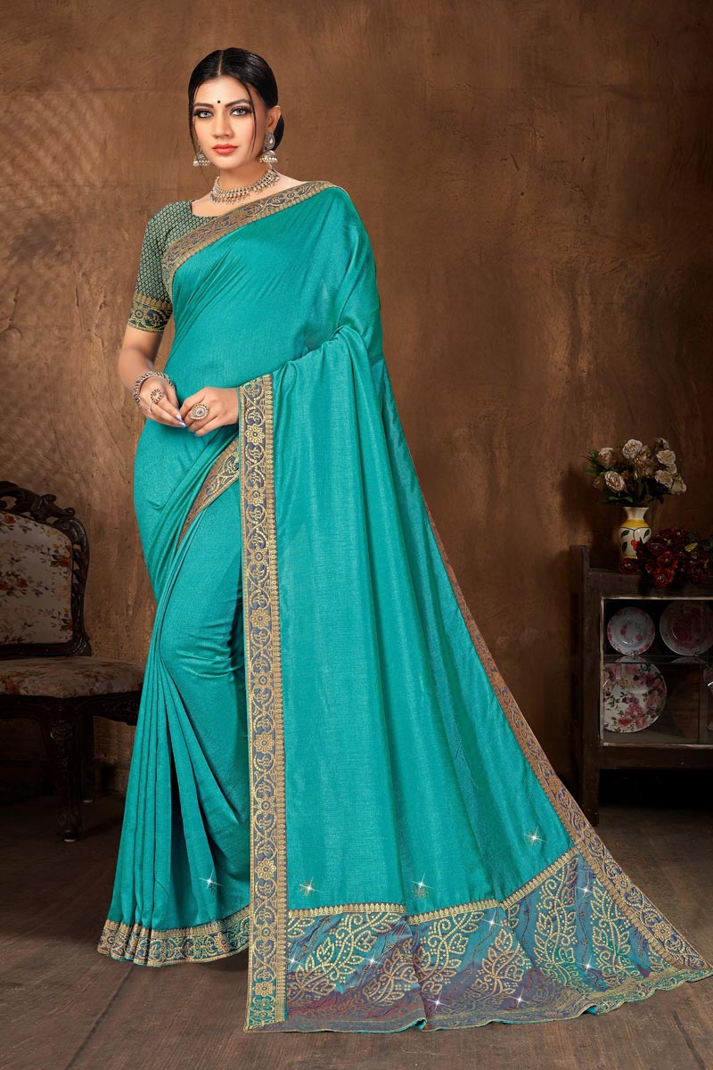 Casual Wear Art Silk Fabric Classic Lace Work Saree In Cyan Color