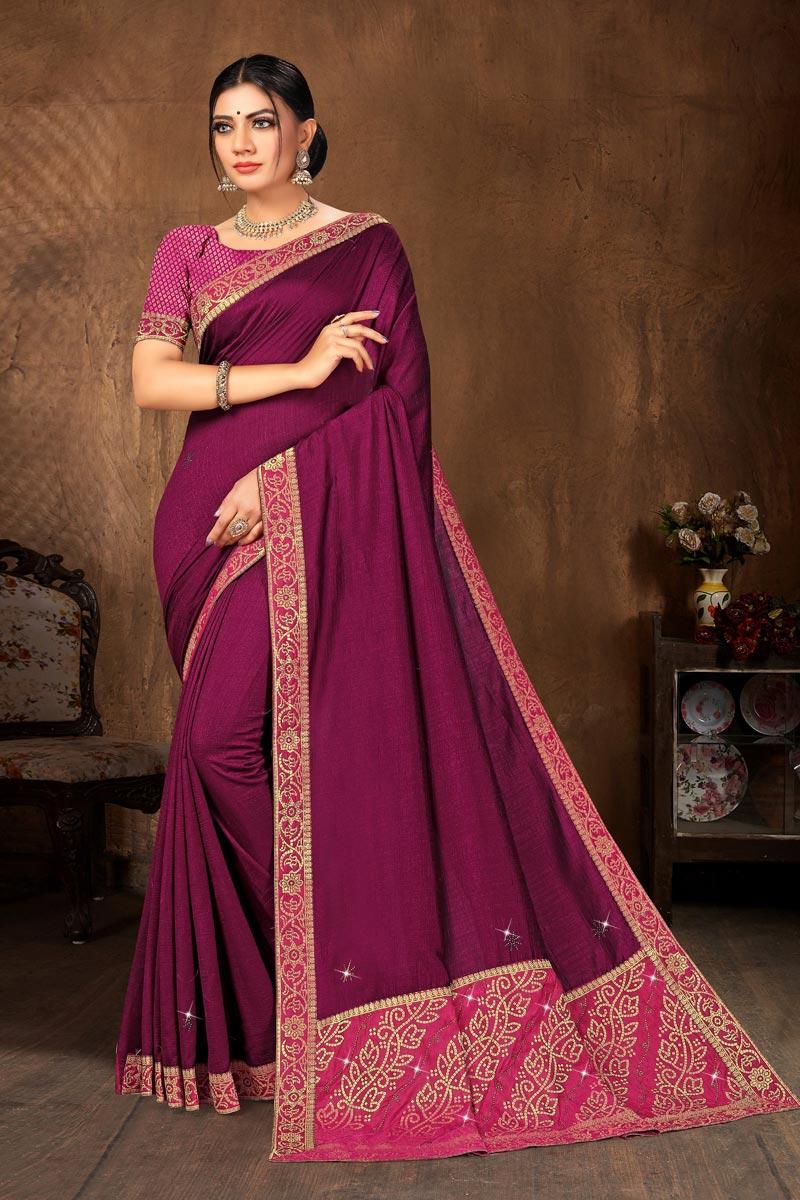 Purple Color Casual Wear Classic Art Silk Fabric Lace Work Saree