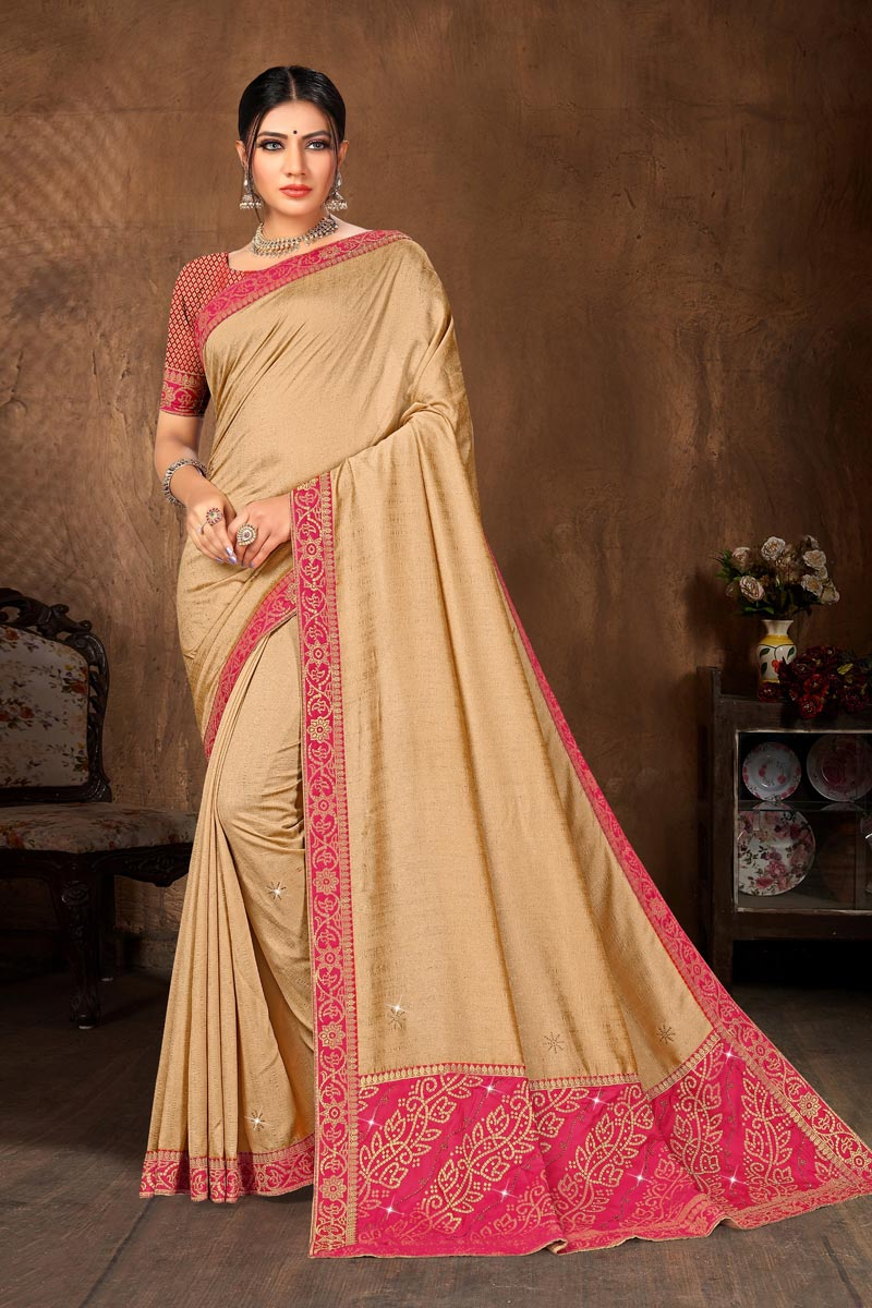 Beige Color Classic Casual Wear Art Silk Fabric Lace Work Saree