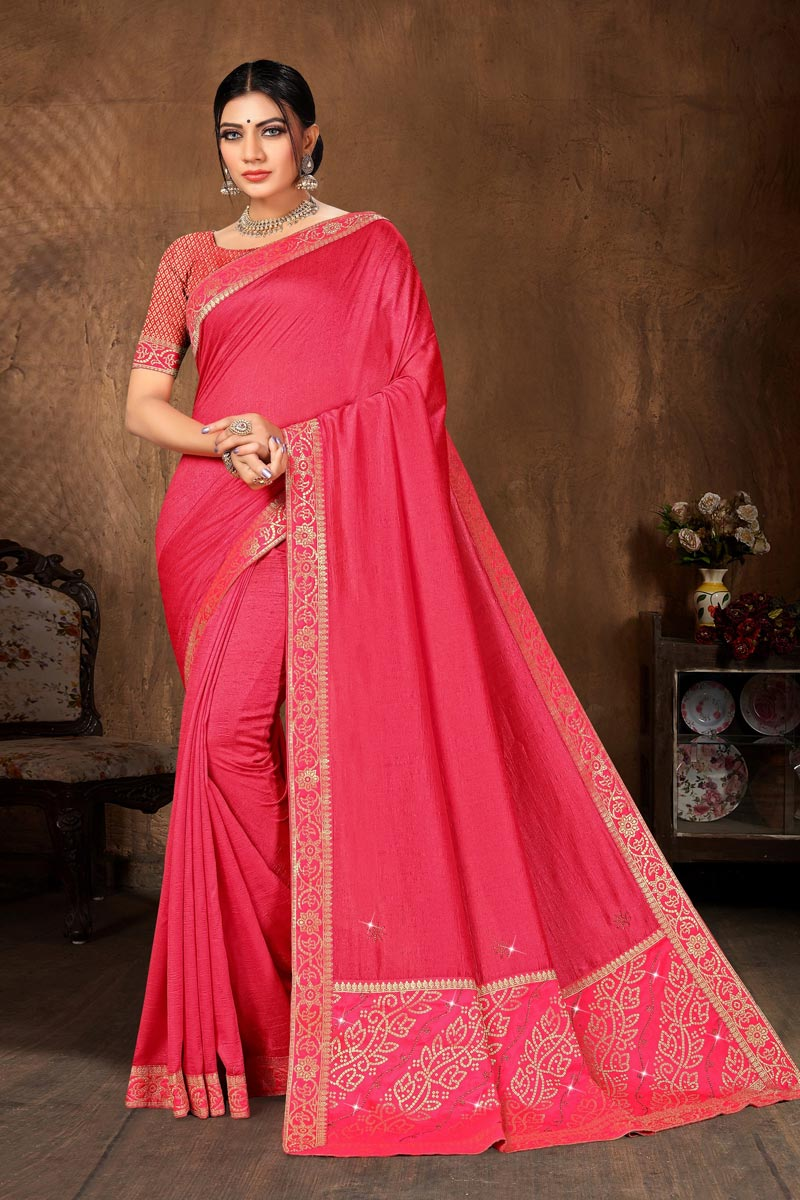 Art Silk Fabric Casual Wear Pink Color Classic Lace Work Saree