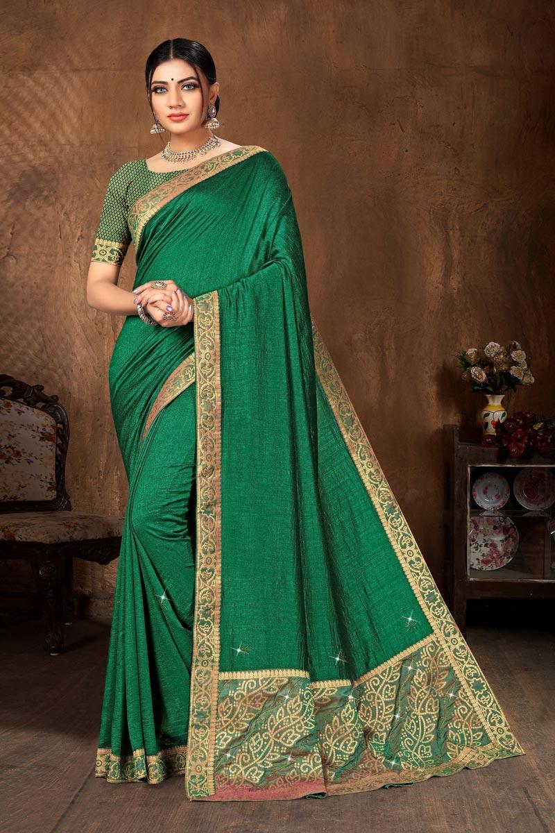 Casual Wear Art Silk Fabric Classic Green Color Lace Work Saree