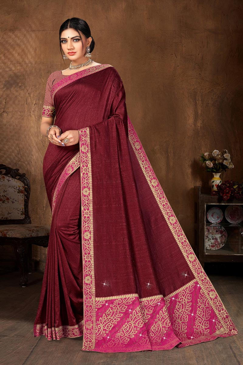 Casual Wear Maroon Color Classic Lace Work Saree In Art Silk Fabric