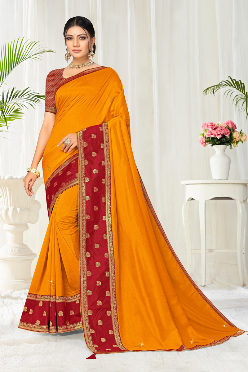 Function Wear Orange Color Border Work Saree In Art Silk Fabric