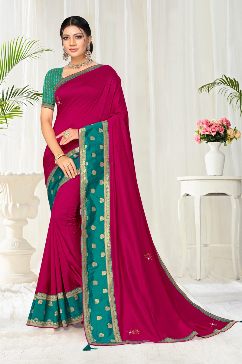 Dark Pink Color Traditional Border Work Saree In Art Silk Fabric