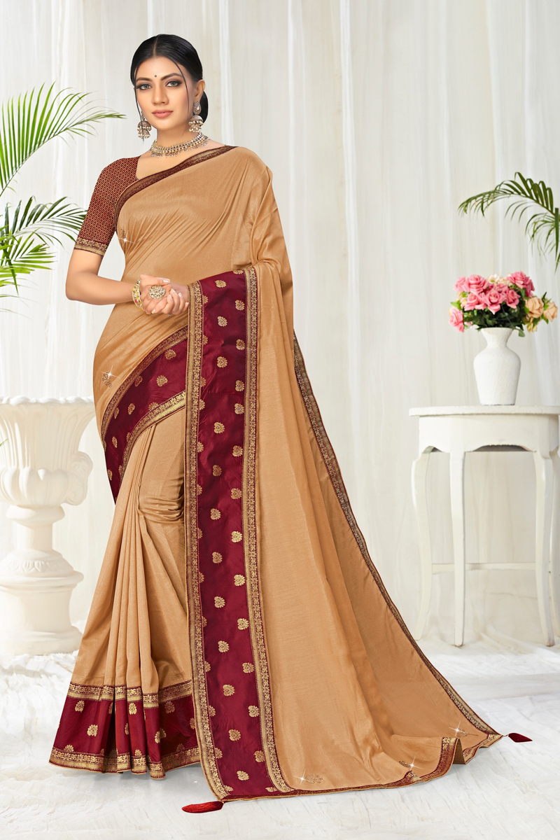 Fancy Art Silk Fabric Beige Color Border Work Saree