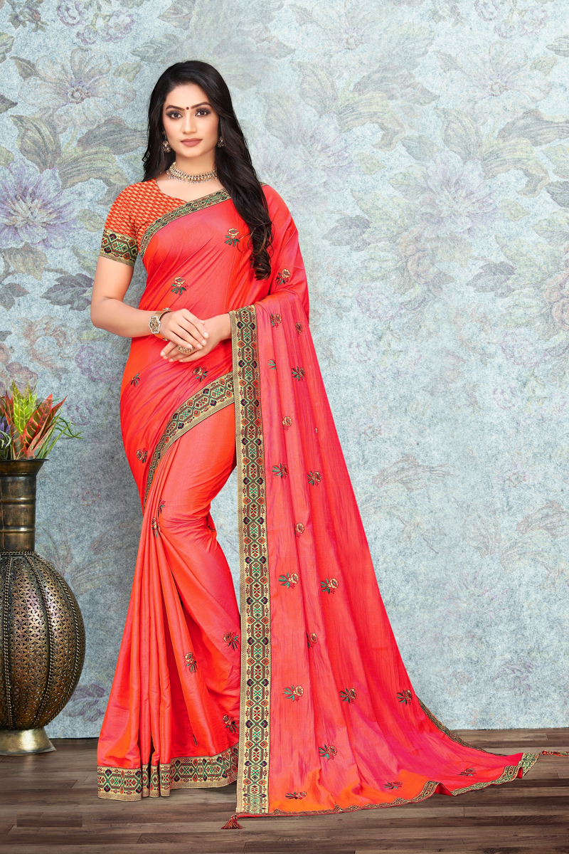 Designer Art Silk Fabric Function Wear Lace Work Saree In Pink Color