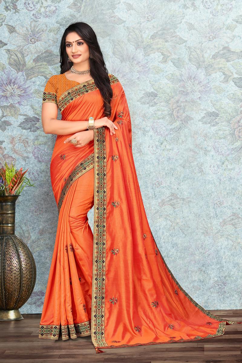 Art Silk Fabric Orange Color Lace Work Saree For Wedding Function