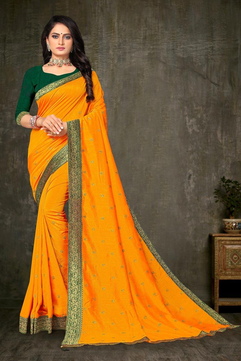 Yellow Color Regular Wear Art Silk Fabric Elegant Lace Work Saree