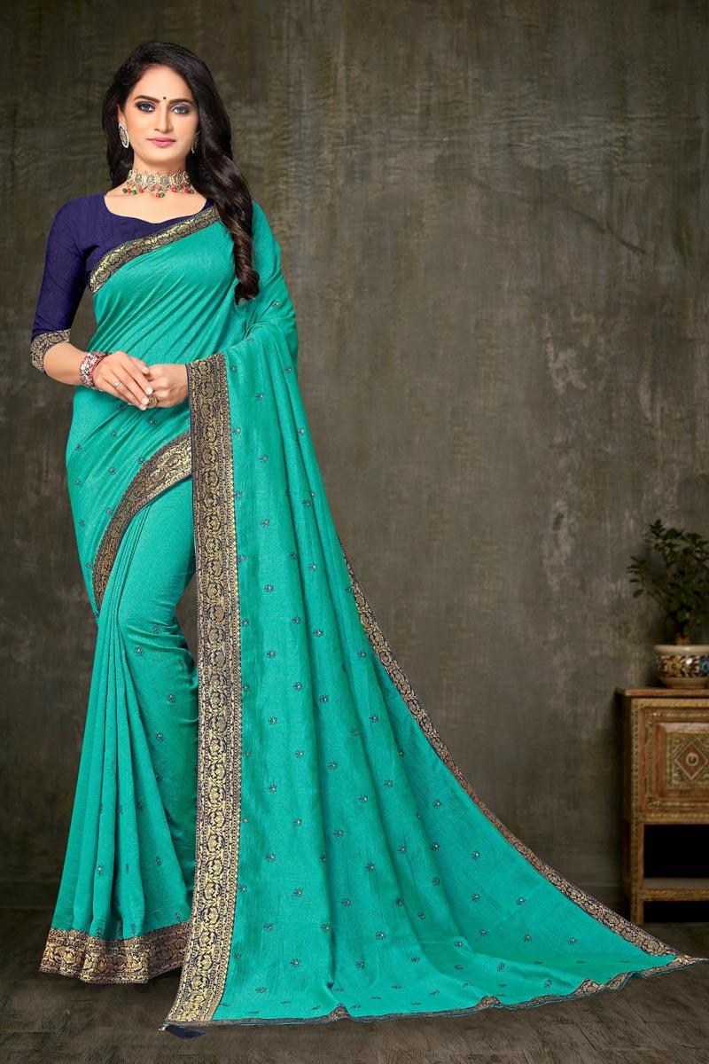 Regular Wear Elegant Cyan Color Lace Work Saree In Art Silk Fabric