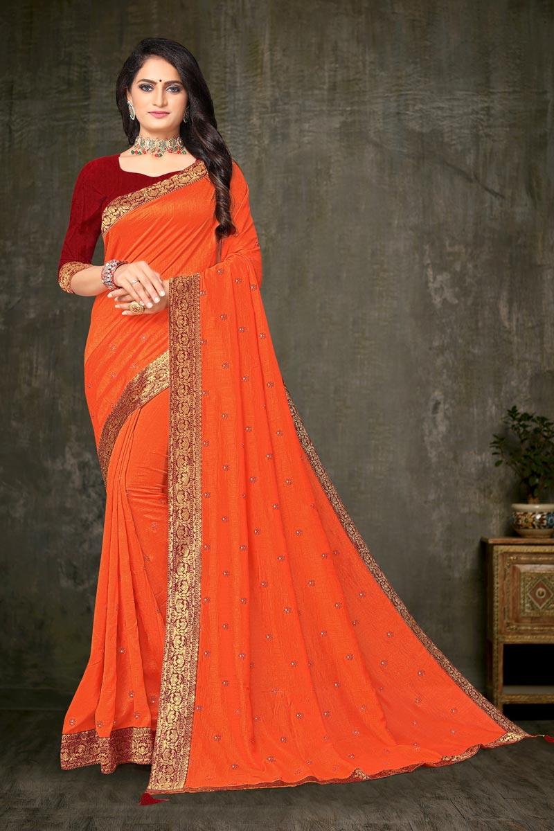 Regular Wear Orange Color Elegant Lace Work Saree In Art Silk Fabric