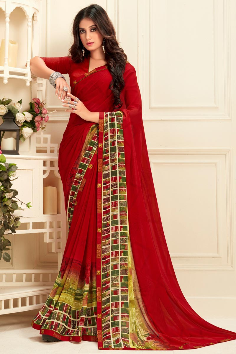 Daily Wear Georgette Fabric Alluring Red Color Printed Saree