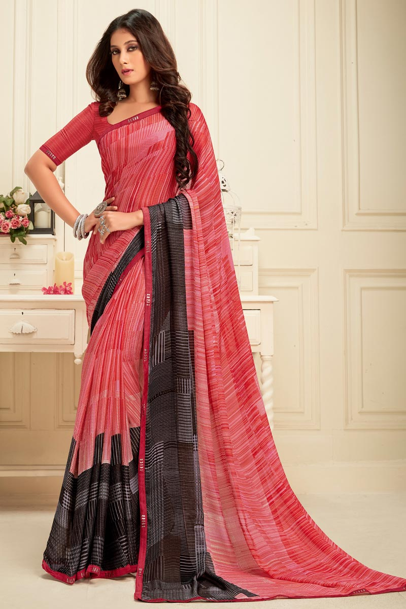 Daily Wear Pink Color Alluring Georgette Fabric Printed Saree