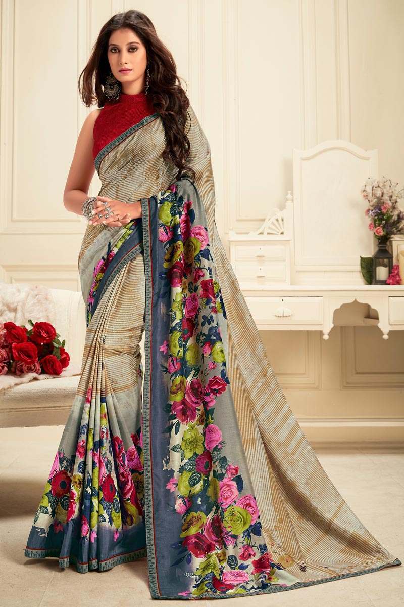 Daily Wear Cream Color Georgette Fabric Alluring Printed Saree