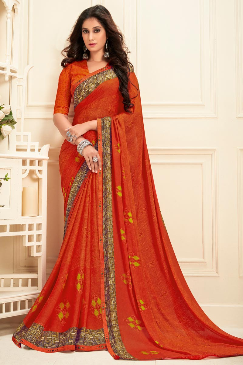 Daily Wear Georgette Fabric Alluring Printed Saree In Orange Color