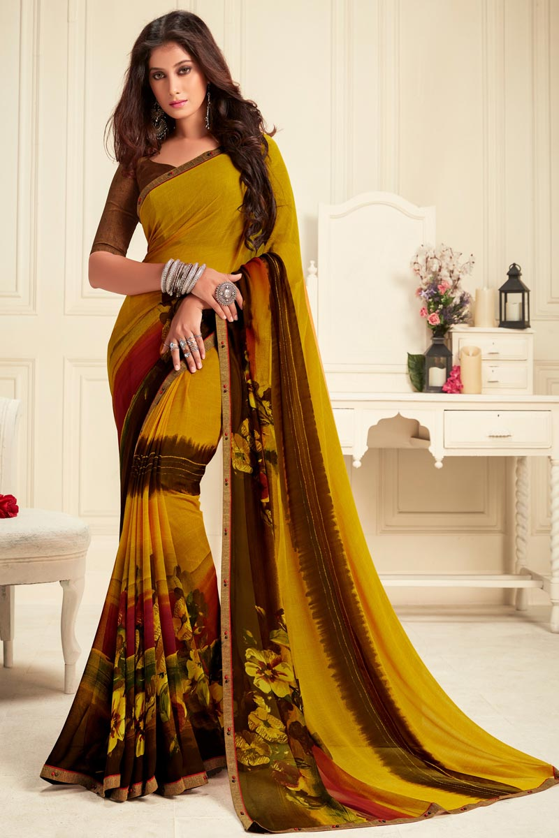Yellow Color Daily Wear Alluring Printed Saree In Georgette Fabric