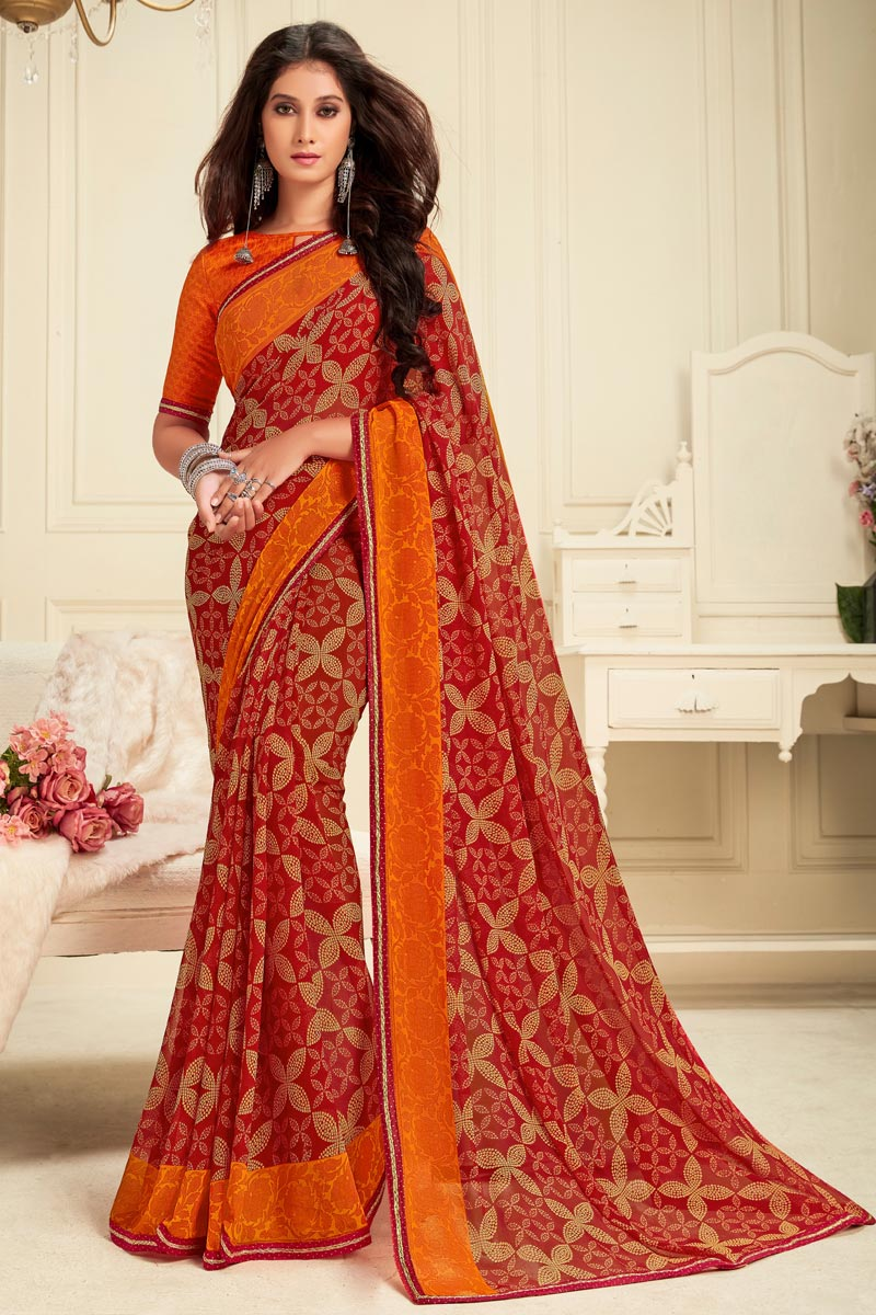 Georgette Fabric Daily Wear Red Color Alluring Printed Saree