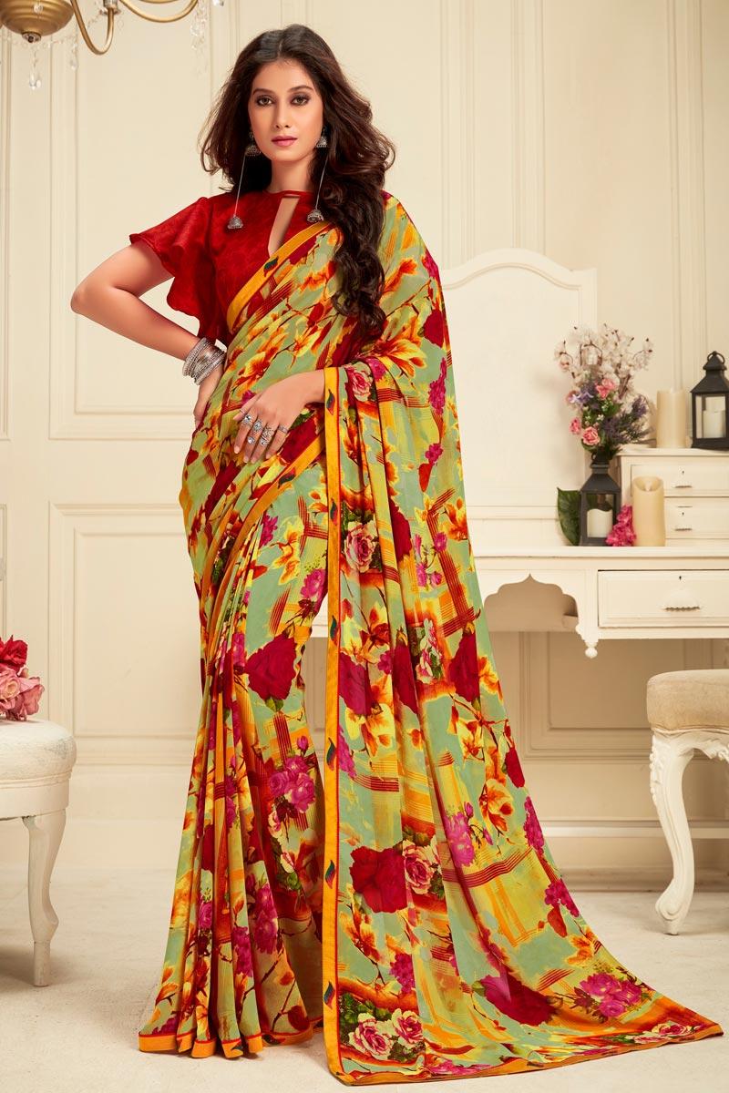 Georgette Fabric Regular Wear Alluring Printed Saree In Multi Color