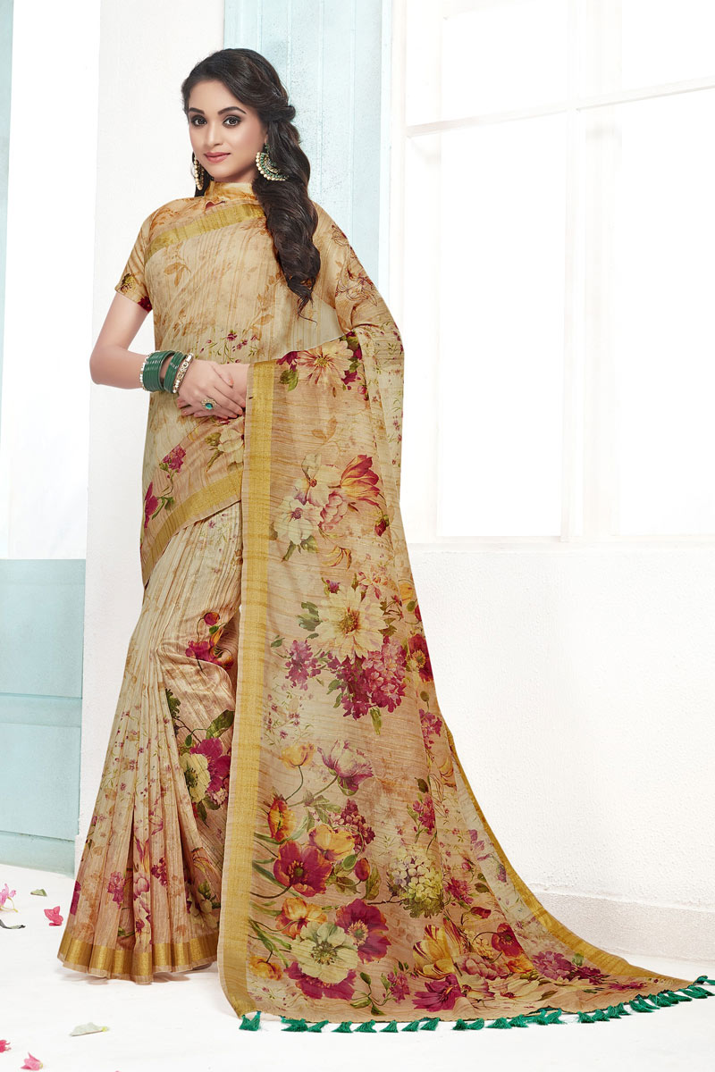 Beige Color Cotton Fabric Festive Wear Saree With Printed