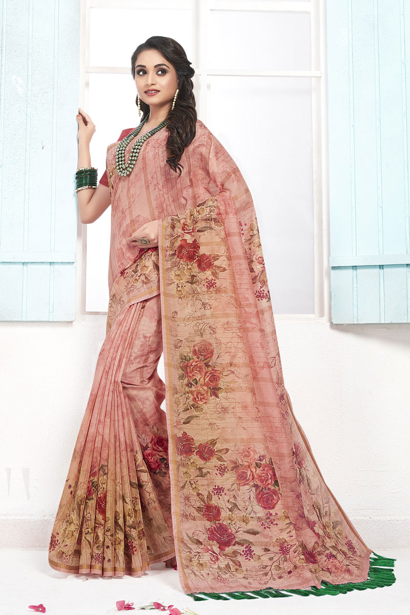 Casual Wear Cotton Fabric Printed Saree In Pink Color