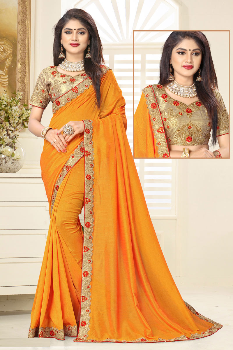 Art Silk Fabric Designer Saree In Yellow Color With Embroidery Work