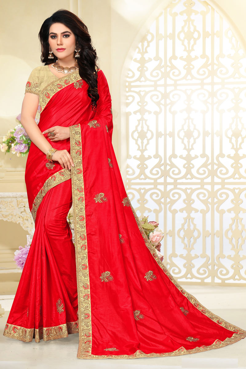 Red Color Art Silk Fabric Occasion Wear Saree With Embroidery Work